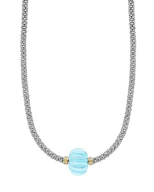 Lagos 18K Gold & Sterling Silver Caviar Forever Sky Blue Topaz Melon Bead Rope Necklace, 16