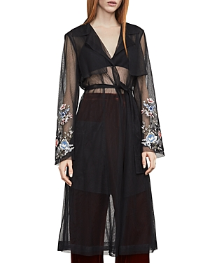 Bcbgmaxazria Embroidered Tulle Trench Coat