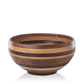 """Dansk - Signy Striped Wood 12"""" Bowl"""