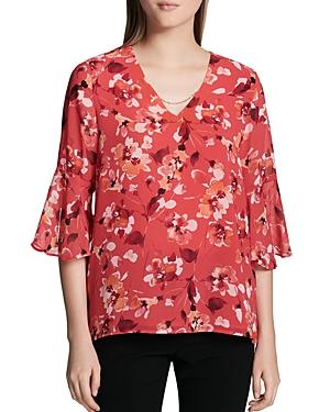 Calvin Klein Floral-Print Bell-Sleeve Blouse