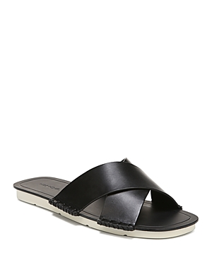 New Vince Women's Nico Leather Slide Sandals, Black