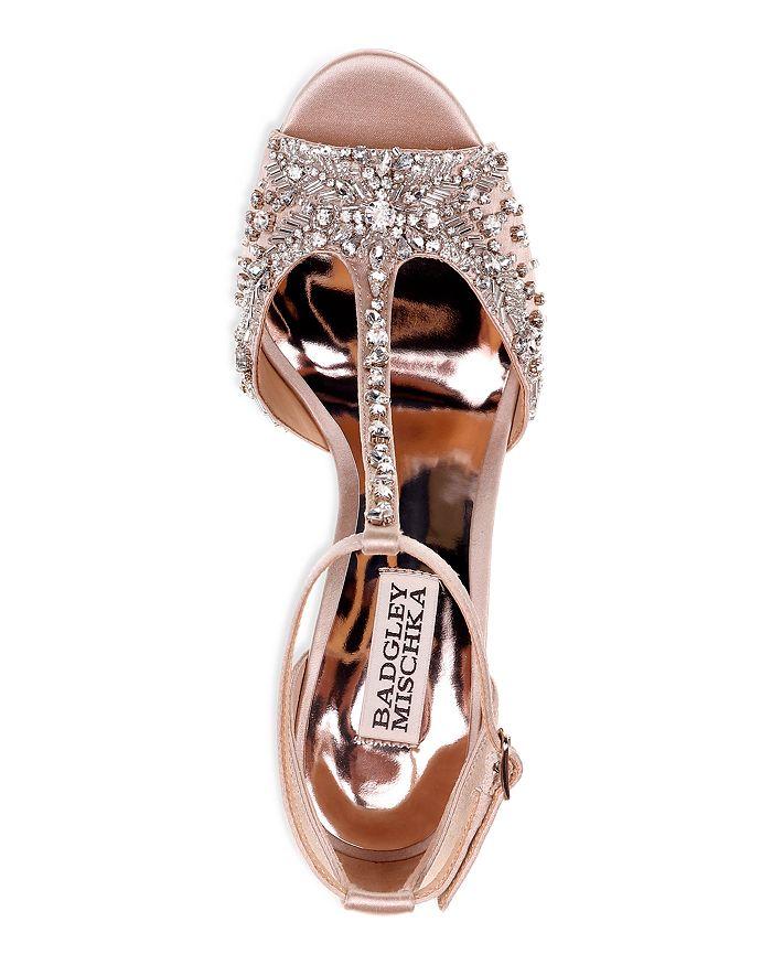 55adba61639 Badgley Mischka - Women s Sarah Embellished Satin T-Strap Wedge Sandals