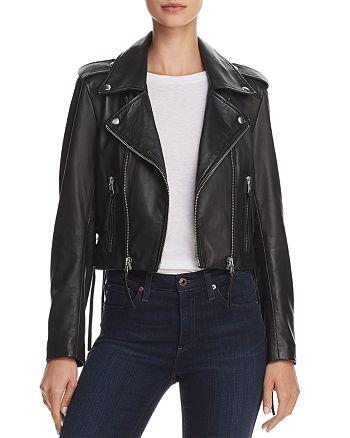 AQUA - Lace-Up Leather Moto Jacket - 100% Exclusive
