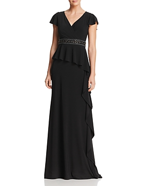 Adrianna Papell Embellished Ruffle Gown