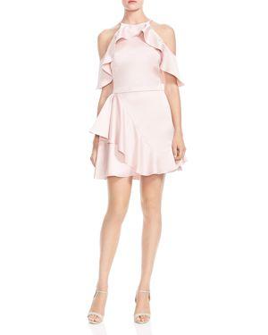 Halston Heritage Ruffled Cold-Shoulder Dress 2855277