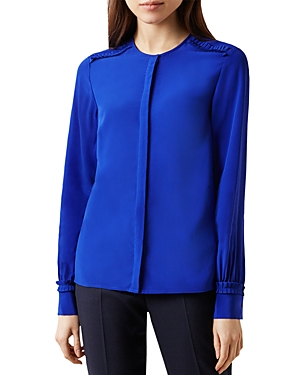 Hobbs London Mae Pleated-Trim Silk Blouse