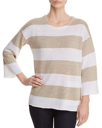 Eileen Fisher - Organic Linen Awning-Stripe Sweater