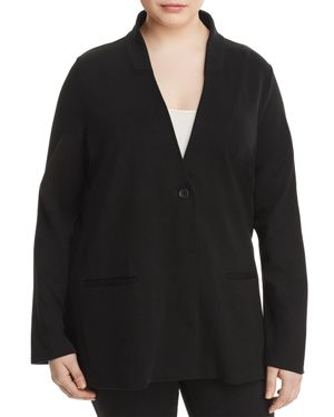 Eileen Fisher Plus Ponte Knit Stand-Collar Blazer
