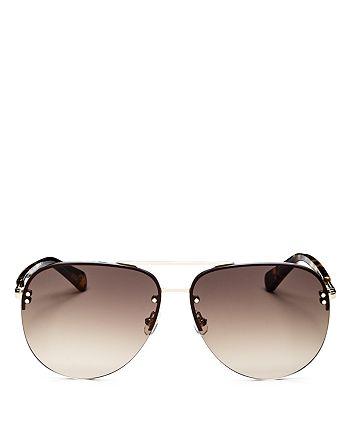 kate spade new york - Women's Jakayla Brow Bar Rimless Aviator Sunglasses, 62mm