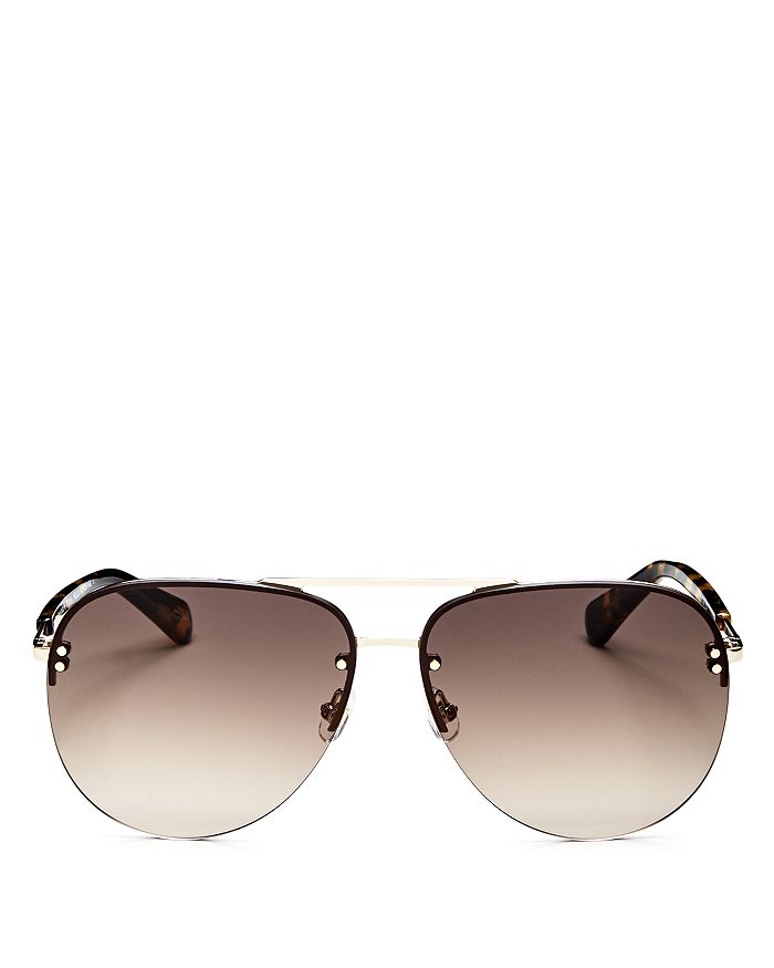 kate spade new york - Women's Jakayla Brow Bar Rimless Aviator Sunglasses, 62mm