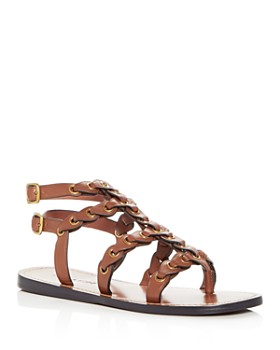 COACH - Women's Coach Link Leather Gladiator Sandals