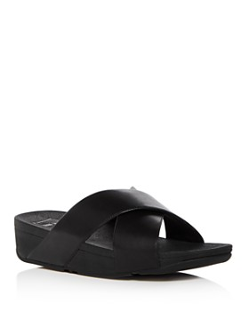 FitFlop - Women's Lulu Leather Crisscross Platform Wedge Slide Sandals
