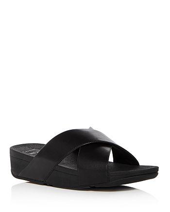 FitFlop - Women's Lulu Leather Crisscross Platform Wedge Slide Sandals
