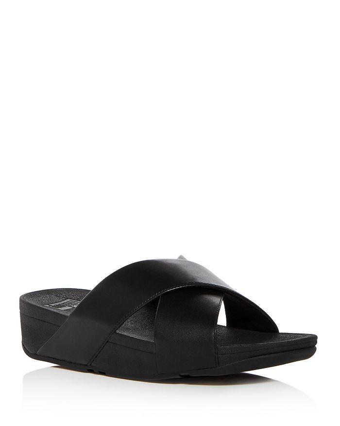 b65272b8cd985 FitFlop Women s Lulu Leather Crisscross Platform Wedge Slide Sandals ...