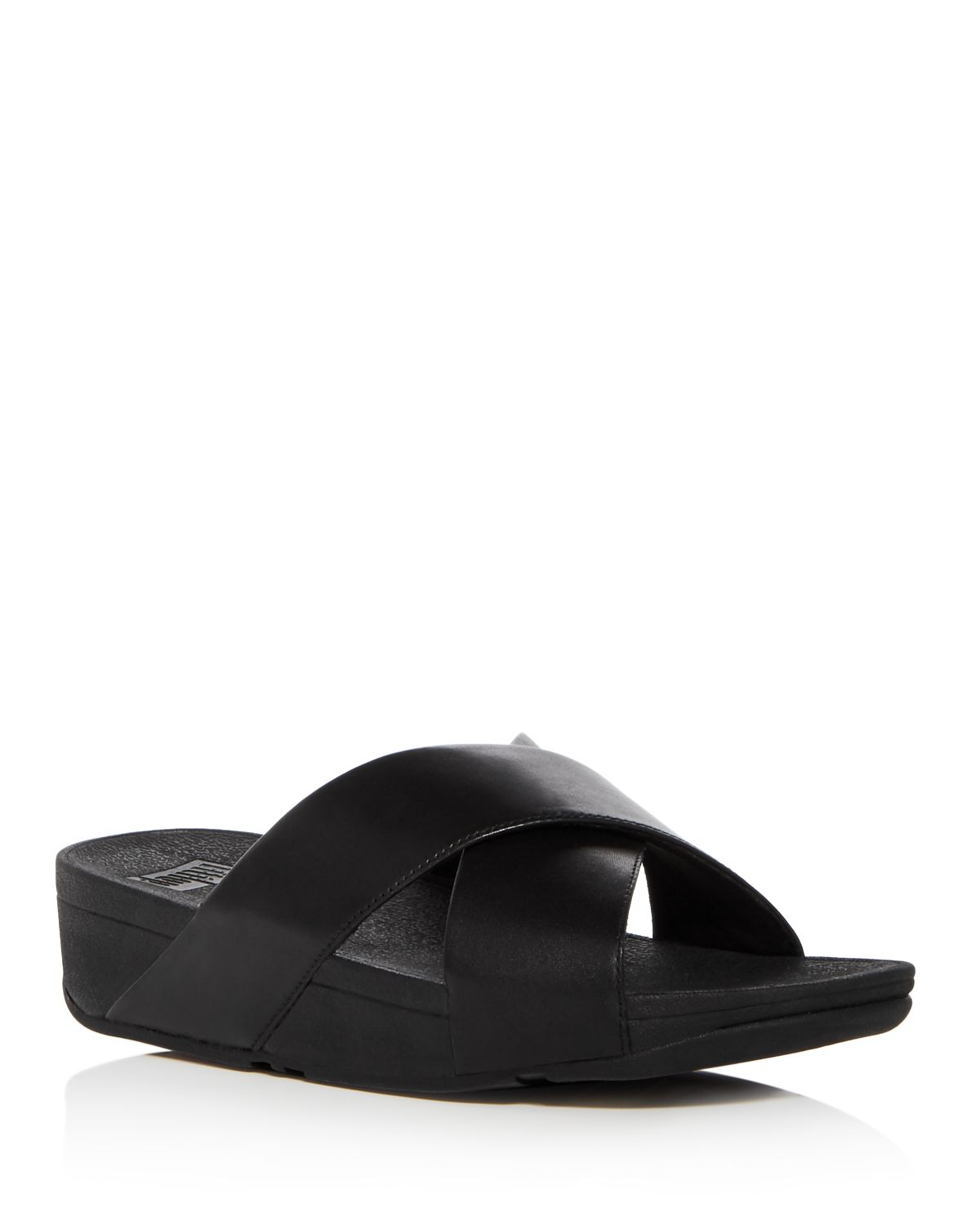 FitFlop Women's Lulu Leather Crisscross Platform Wedge Slide Sandals