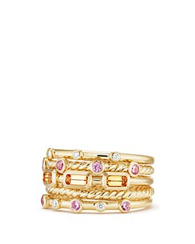 David Yurman - Novella Stack Ring in Spessartite Garnet & Pink Sapphire with Diamonds