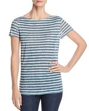 Majestic Filatures Linen Short-Sleeve Striped Top