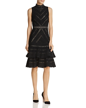 Alice + Olivia Azita Tiered Lace Fit-and-Flare Dress
