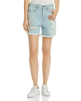 FRAME - Le Stevie Distressed Denim Shorts in Henley