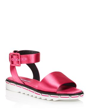 Women'S Shimmy Satin Ankle Strap Sandals in Fuchsia