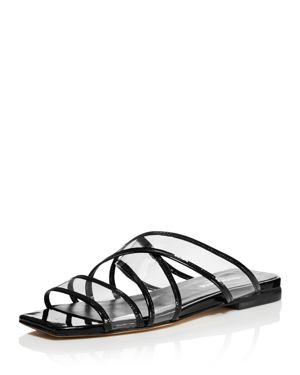 Women'S Drea Strappy Patent Leather Illusion Slide Sandals, Black