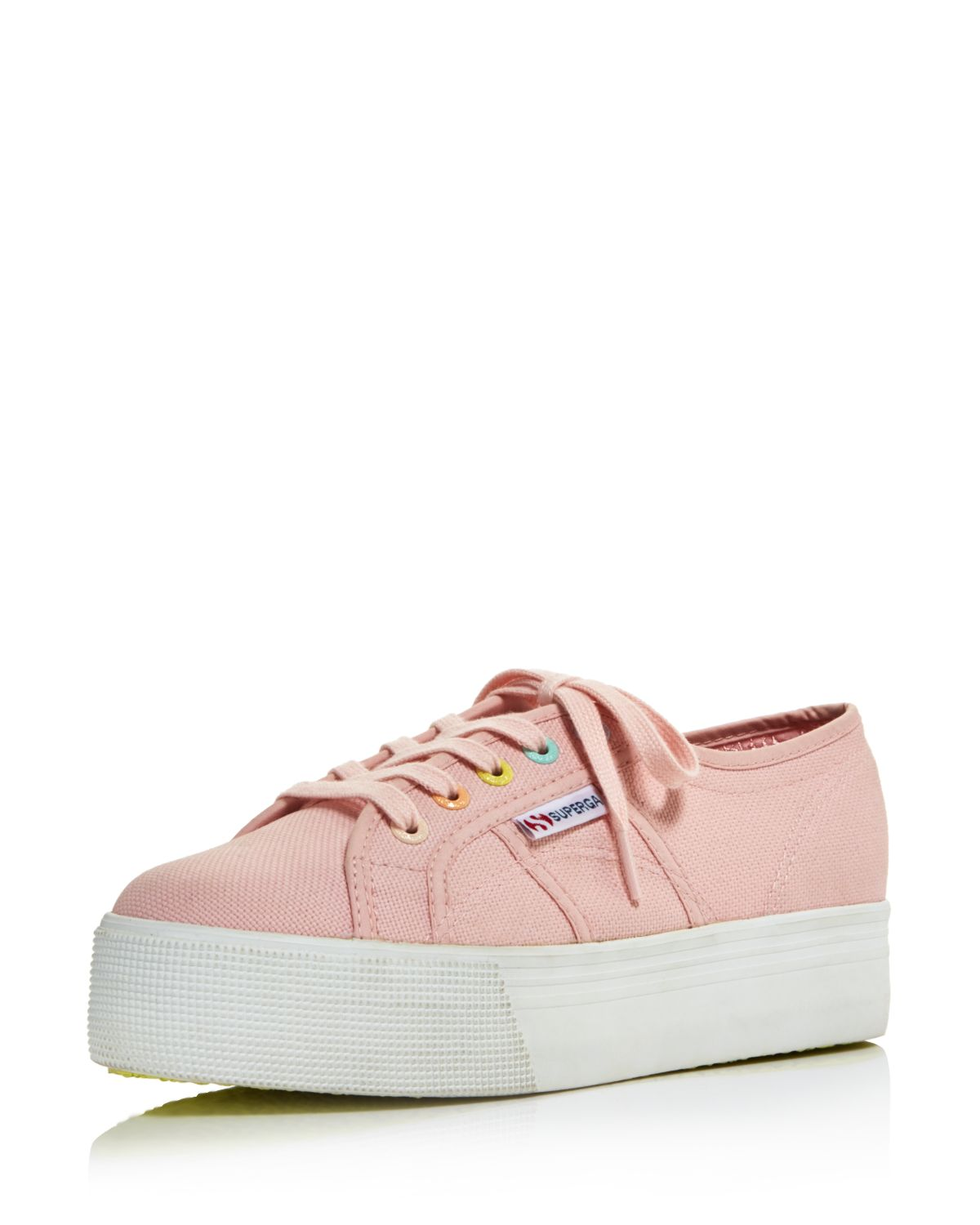 coloured laces platform sneakers - Pink & Purple Superga