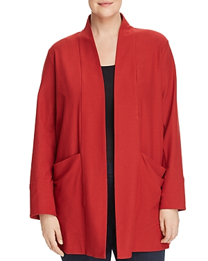New Eileen Fisher Plus Relaxed Open-Front Jacket, Serrano