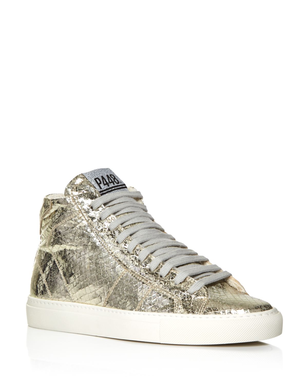 P448 Women's Star Embossed Metallic High Top Sneakers