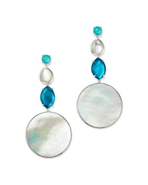 Sterling Silver Wonderland Mother-Of-Pearl & Clear Quartz Doublet Long Drop Earrings In Bermuda, Silver/Blue