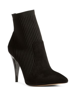 Women'S Knit Pointed Toe Stretch Sock Booties, Black