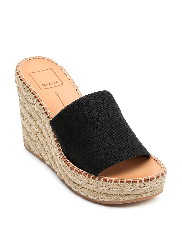 Dolce Vita Women's Pim Platform Wedge Espadrille Slide Sandals wRhtlzZe