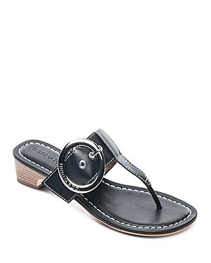 e1124caf382d4f Bernardo Women S Leather Buckle Block Heel Thong Sandals In Black ...