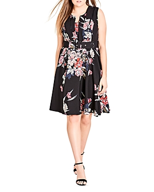 City Chic Misty Floral Print Belted Dress