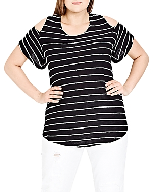 City Chic Whisper Striped Cold-Shoulder Top