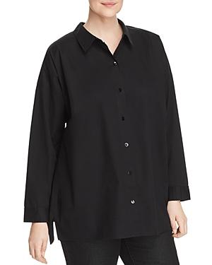 New Eileen Fisher Plus Classic Long-Sleeve Shirt, Black