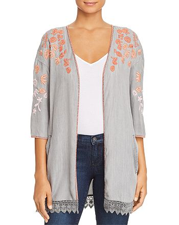 Billy T - Floral Embroidered Chambray Kimono