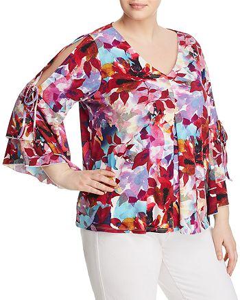 Cupio Plus - Floral-Print Cold-Shoulder Top - 100% Exclusive