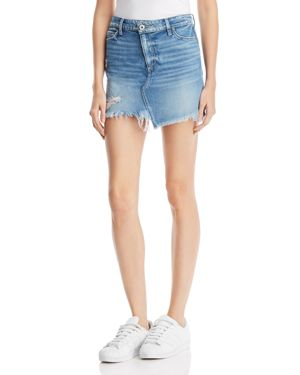 Paige Afia Frayed Denim Skirt in Dunlee - 100% Exclusive