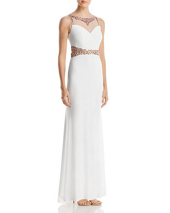 Decode 1.8 - Beaded Illusion Column Gown