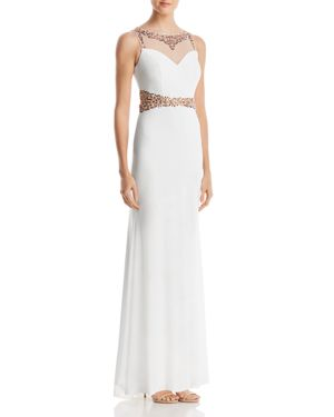 DECODE 1.8 BEADED ILLUSION COLUMN GOWN