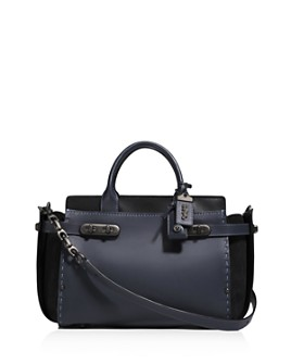 COACH - COACH 1941 Color-Block Double Swagger Mixed Leather & Suede Satchel