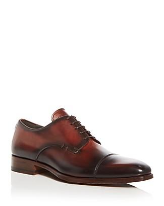 A.TESTONIMen's Burnished Leather Cap Toe Oxfords I1oh89NM