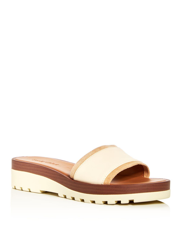 Chloé Women's Leather Wedge Platform Slide Sandals