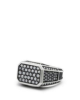 David Yurman - Streamline® Pavé Signet Ring with Black Diamonds
