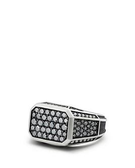 David Yurman - Streamline® Pavé Signet Ring with Black Diamonds