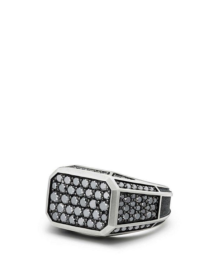 David Yurman - Streamline Pavé Signet Ring with Black Diamonds
