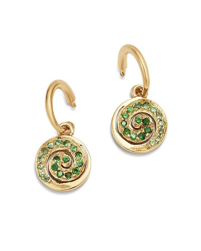 SheBee - 14K Yellow Gold Tsavorite & Green Sapphire Spiral Charm Drop Earrings