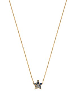 """SheBee - 14K Yellow Gold Blue Sapphire Star Pendant Necklace, 16"""""""