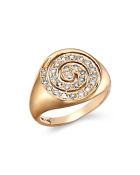 SheBee - 14K Yellow Gold Diamond Spiral Signet Ring