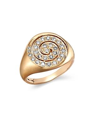 SheBee 14K Yellow Gold Diamond Spiral Signet Ring